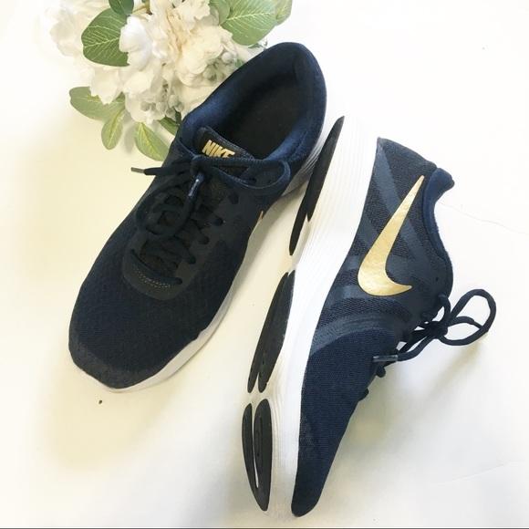Nike Revolution 4 Navy Blue Gold